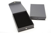 Black Press Stud Closure Necklace Box - Black Pad Insert - Slits for Necklaces/Chains