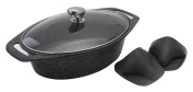 Pradel Excellence 52804M 2-piece Imitation Stone Oval Pot Set Suitable for all Hobs, Including Induction Hobs