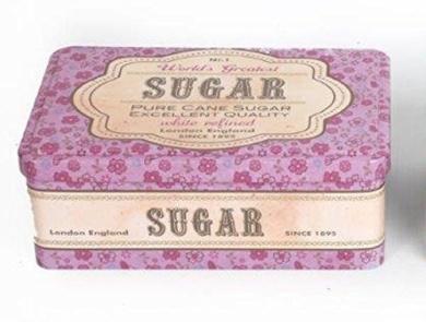 Vintage Retro Purple Floral Sugar Tin. Shabby Chic Kitchen Storage.