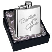 Brother of the Groom, Hip Flask, 120ml or 180ml size, with . modern engraving design