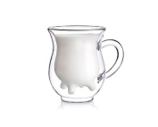 Creative Beautiful Gifts 3D Double Layer Crystal Glass Cup Mug 400mL - Cute Calf Cow Udder Shaped Creamer Pitcher Milk Bottle