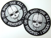One Shot One Kill Morale Patch- 2 Embroidered Iron On Badges
