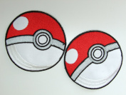Pokemon Poke Ball Embroidered Patch - 2 Iron On Badges