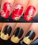 NAIL DECALS WATER TRANSFERS STICKERS ART SET #205. PLUS A LARGE GOLD LEAF SHEET FOR CUSTOM DESIGNED NAILS! PRETTY RED & WHITE ROSES FLOWERS FLORAL BLOOM WITH GREEN LEAVES WRAPS & STUNNING 24KT GLIZZY GOLD LEAF FOR FULL HOLLYWOOD NAILS! ALL CAN BE USED ..