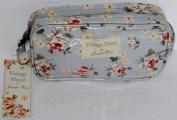 Vintage Floral Oil Cloth Mini Wash Bag