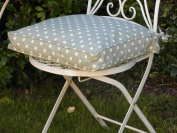 VINTAGE SAGE GREEN & CREAM POLKA DOT SEAT PAD WITH REMOVABLE COVER **CATH KIDSTON STYLE**
