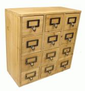Geko 35 x 15 x 34 cm Mini Trinket Desk Organiser Trinket Storage Drawers, Wooden 12 Drawer Mini Chest with Metal Handles
