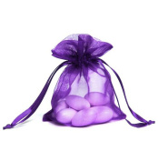 KINGWEDDING 100pcs Purple 4x5 Organza Drawstring Pouches Jewellery Party Wedding Favour Gift Bags