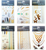 Miraclekoo Metallic Gold & Silver Fashion Tattoo Temporary Flash Tattoo 6 Sheets
