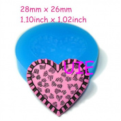197LBP Heart Shaped Accessories Silicone Moulds 28mm - Cupcake Decoration Polymer Clay Mould, Charms Mould Sugarcraft Mould