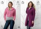 King Cole Aran Knitting Pattern Womens Textured Long Sleeved Coat & Hooded Cardigan