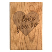 """Cardtorial Sustainable Wood, Handprinted 10cm x 15cm I Love You So"""" Anniversary Card"""