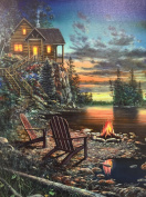 Cabin & Chairs By the Lake