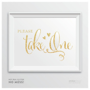 Andaz Press Wedding Party Signs, Glam Gold Glitter Print, 22cm x 28cm , Please Take One, 1-Pack