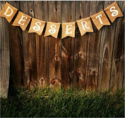 Burlap 'Desserts' Banner for Rustic Baby Showers or Shabby Chic Events