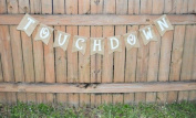 Burlap 'Touchdown' Spirit Banner for Gameday or Tailgaiting