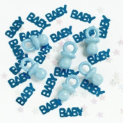 3 x New Baby/Baby Shower Blue Confetti Sprinkles with Plastic Dummies