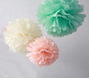 12PCS Mixed Ivory Peach Mint Tissue Pom Poms Paper Flower Wedding Bridal Shower Party Fluffy Decoration