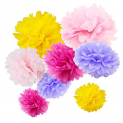 WYZworks Set of 8 (Assorted Tulip Bouquet Colour Pack) 20cm 25cm 30cm Tissue Pom Poms Flower Party Decorations for Weddings, Birthday, Bridal, Baby Showers Nursery Décor