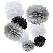 WYZworks Set of 8 (Assorted Monotone Colour Pack White / Grey / Black) 20cm 25cm 30cm Tissue Pom Poms Flower Party Decorations for Weddings, Birthday, Bridal, Baby Showers Nursery Décor