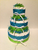 Blue & Green Polka Dot Nappy Cake, Boy