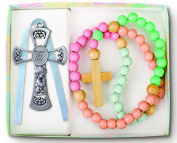 N 1905B BABY CROSS/ROSARY SET - BOY