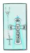 N 2113B BABY CROSS/ROSARY SET - BOY/BAPTISM