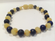 Raw Milk Unpolished Baltic Amber Bracelet & Lapis Lazuli for Adults or big kids 8