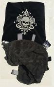 Damask Skull ~ Black & Grey Cuddle Blanket with Ribbon Tabs
