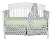 Green and Grey Chevron Zig Zag Baby Bedding Set with Sweater Blanket