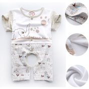 LSQtronics summer open crotch leotard romper for newborn baby (0-1years old), lovely cartoon printed ---short sleeve
