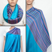 Turquoise Nursing Cover with Colourful Striped Pattern, Nursing Cover Scarf, Breastfeeding Cover, Nursing Cover, Nursing Scarf, Infinity Scarf