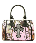Mossy Oak Fashion Handbag with Rhinestone Cross