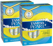 Tampax Pearl Regular Absorbency Tampons with Plastic Applicator, Unscented - 18 ct - 2 pk