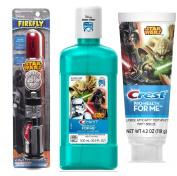 Firefly Light-Up pOWER Toothbrush - Star Wars (Darth Vader) + Crest Pro-Health Disney Star Wars Kids Minty Breeze Toothpaste, 4.2 Oz + Crest® Pro-Health Jr., Disney Star Wars Anti-Cavity Fluoride Rinse, Breezy Mint, 500 mL bottle