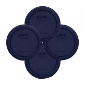 Pyrex Round 1 Cup, 236mL Storage Lid Cover Blue 4 Pack # 7202-PC