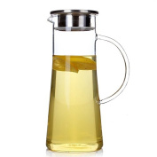 Hiware Glass Water Carafe and Drink Infuser with Stainless Steel Filter Lid, 1480ml / 1.5 L Borosilicate Glass Iced Tea Pitcher, Create Your Own Naturally Flavoured Fruit Infused Water, Juice, Iced Tea, Lemonade & Sparkling Beverages