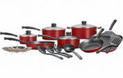 Non-Stick Mainstays 18-Piece Cookware Set Teflon Pots and Pans Kitchen Tools RED