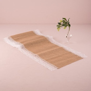 Natural Burlap Table Runner with Lace Edging Style 9716, 14x90