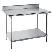 Advance Tabco 14-Gauge Stainless Steel Top - w/ Backsplash & Undershelf - Model KSS-366