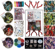 Adults Deluxe Jewellery Making Beads Mix Pliers Findings Starter Kit Gift Set