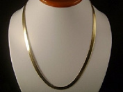 14k Gold Plated Flat Herringbone 60cm Chain Necklace by Jbt