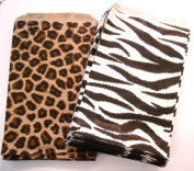 100 of 10cm X 15cm Small Paper Bags 50 Cheetah Leopard & 50 Zebra Animal Print Party Retail Gift Holiday Wrap Wrapping Sacks