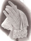 Vintage Crochet PATTERN to make - Irish Crochet Fancy Fishnet Lace Mesh Gloves. NOT a finished item. This is a pattern and/or instructions to make the item only.