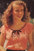 Vintage Crochet PATTERN to make - Crocheted Lace Summer Peasant Blouse Top. NOT a finished item. This is a pattern and/or instructions to make the item only.