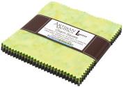 Lunn Studios PRISMA DYES RAINFOREST BATIKS Precut 13cm Charm Pack Cotton Fabric Quilting Squares Assortment Robert Kaufman CHS-270-42