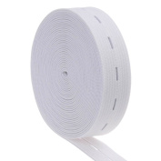 Cotowin 3/4-Inch Wide White Knit Buttonhole Elastic 5 Yards + 5 Wood Buttons