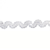 Sequin Trim 1.9cm Wide Polyester Non Stretch Sequin Trim Rolls for Arts and Crafts, 25-Yard, White