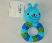 Amikins KidStyle Hand Crocheted Baby Bunny Rattle - Blue