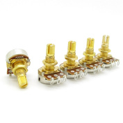 GOLD Guitar Potentiometers A500k Split Shaft Pots Audio Tone Switch Control Pack of 5